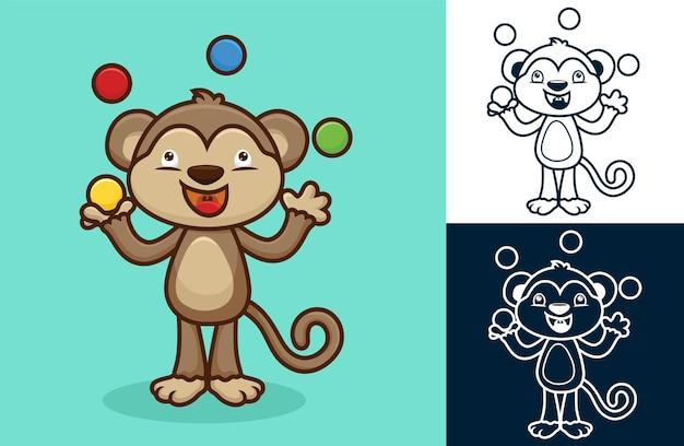 다채로운 공을 저글링 귀여운 원숭이. 평면 아이콘 스타일의 만화 그림