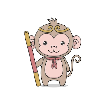 Cute monkey king character holding staff