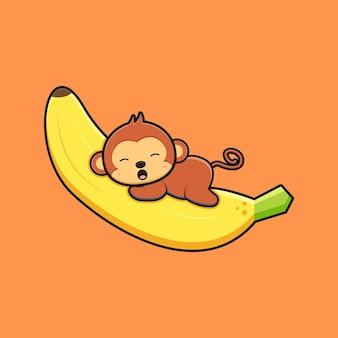 귀여운 원숭이는 바나나 만화 아이콘 삽화에 누워 있습니다. 디자인 고립 된 평면 만화 스타일