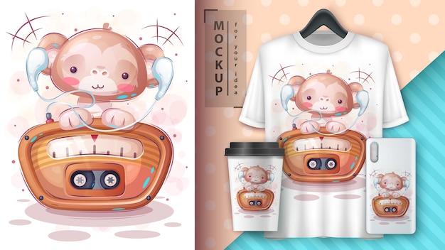 Cute monkey listen radio poster and merchandising