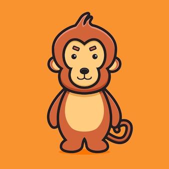 Cute monkey mascot character cartoon vector icon illustration world animal icon concept