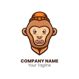 귀여운 원숭이 마스코트 로고 디자인 벡터