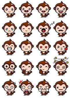 귀여운 원숭이 마스코트 세트 디자인