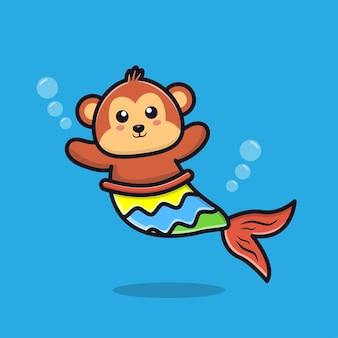 Cute monkey mermaid cartoon illustration