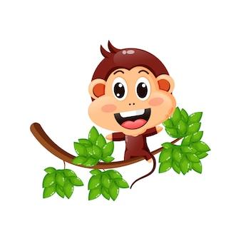 Милая обезьяна на дереве