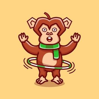 フラフープをしているかわいい猿
