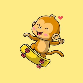 노란색에 고립 된 스케이트 보드를 재생하는 귀여운 원숭이