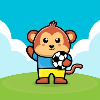 かわいい猿がサッカーボールの漫画イラストを再生します。