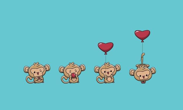 사랑 풍선을 가지고 노는 귀여운 원숭이