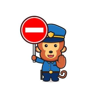 정지 신호 만화 아이콘 그림을 들고 귀여운 원숭이 경찰. 디자인 고립 된 평면 만화 스타일