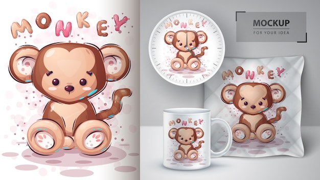Cute monkey poster and merchandising