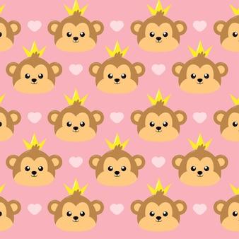Cute monkey princess seamless pattern