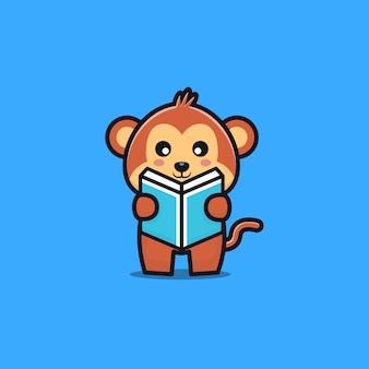 Cute monkey reading book cartoon illustration