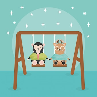 Cute monkey and reindeer in swing characters
