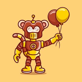 풍선을 들고 귀여운 원숭이 로봇