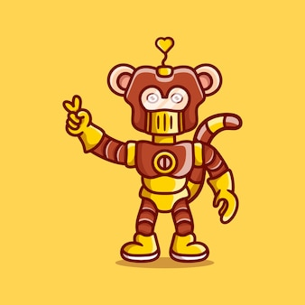 사랑의 평화 손 기호로 귀여운 원숭이 로봇
