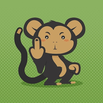 Cute monkey showing the fuck you symbol
