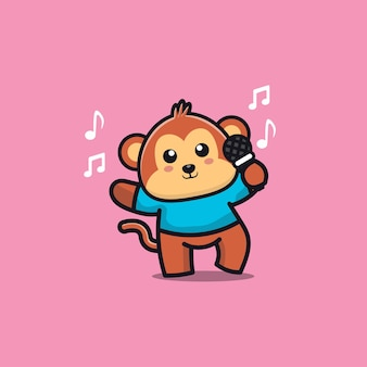 Cute monkey sing a song cartoon character illustration