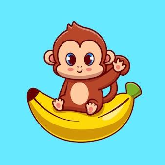 바나나에 앉아 귀여운 원숭이