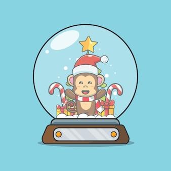 Cute monkey in snow globe cute christmas cartoon illustration