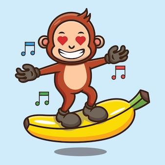 バナナのベクトルのデザインに立っているかわいい猿