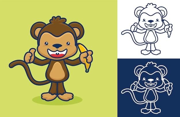 Милая обезьяна стоя, держа банан.