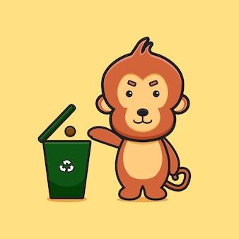 かわいい猿がスパム漫画イラストでクラッシュを捨てる