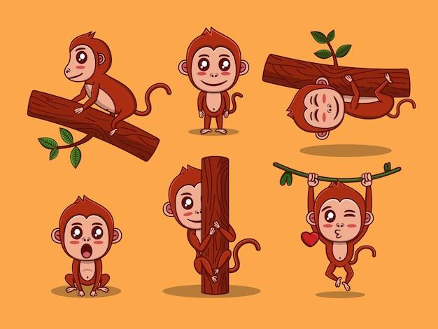 漫画スタイルのプレミアムベクトルに設定されたかわいい猿のベクトル文字