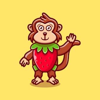 귀여운 원숭이 의상 딸기