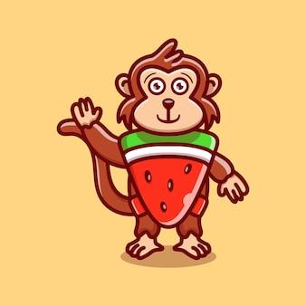Cute monkey wear costume watermelon