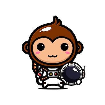 우주 비행사 의상을 입고 귀여운 원숭이