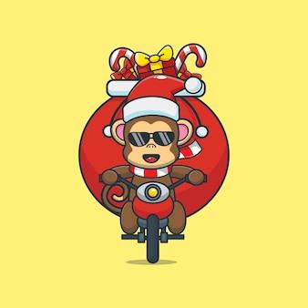 Cute monkey wearing christmas costume riding a motorcycle cute christmas cartoon illustration