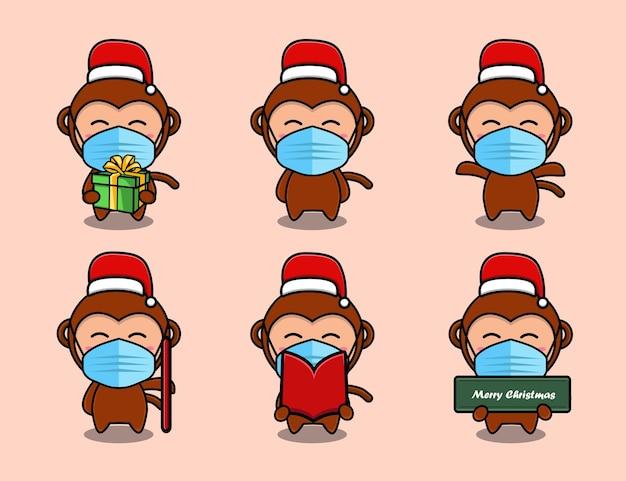 크리스마스 모자 만화 세트를 입고 귀여운 원숭이