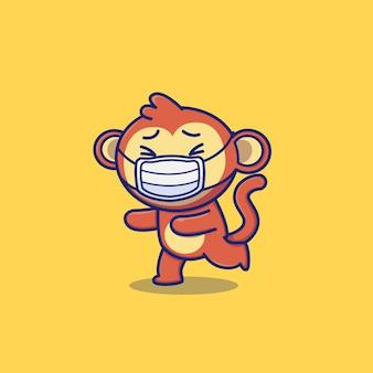 귀여운 원숭이 입고 마스크 만화 벡터 아이콘 그림. 동물 및 건강 아이콘 개념 절연 프리미엄 벡터. 플랫 만화 스타일