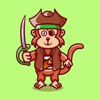 해적 할로윈 의상을 입고 귀여운 원숭이