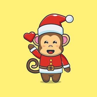 산타 의상을 입고 귀여운 원숭이 귀여운 크리스마스 만화 일러스트 레이션