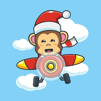 Cute monkey wearing santa hat fly with plane cute christmas cartoon illustration