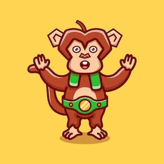 귀여운 원숭이가 복싱 경기에서 승리했습니다.