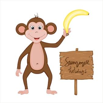 バナナと「夏休み」の刻印のバナーが付いたかわいい猿。ベクトルの夏の漫画コレクション。