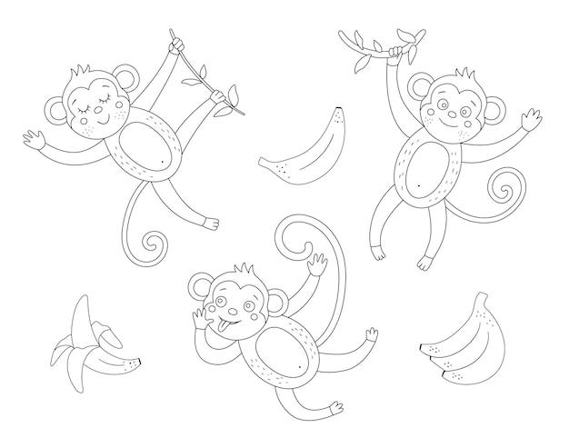 바나나 개요 세트와 귀여운 원숭이입니다. 재미있는 열 대 이국적인 동물과 과일 흑백 그림. 아이들을위한 재미있는 색칠 공부 페이지. 정글 여름 클립 아트 컬렉션