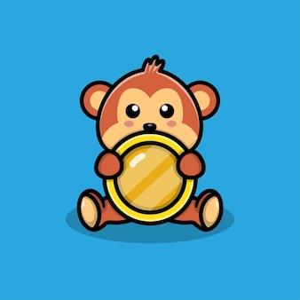 동전 일러스트와 함께 귀여운 원숭이