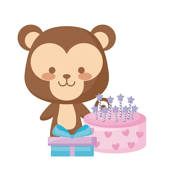 Cute monkey with gift box and sweet cake