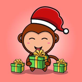 선물과 크리스마스 모자 만화를 입고 귀여운 원숭이