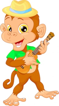 Cute monkey with guitar