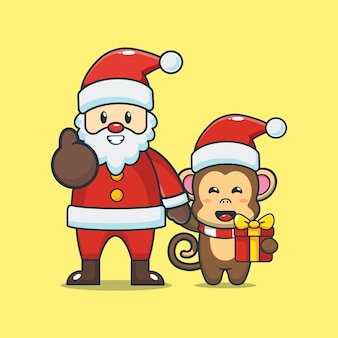 산타 클로스와 귀여운 원숭이 귀여운 크리스마스 만화 일러스트 레이션