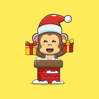 굴뚝에 산타 모자와 함께 귀여운 원숭이 귀여운 크리스마스 만화 그림