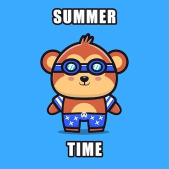 Cute monkey with a summer theme   illustration animal summer concept