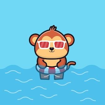 Cute monkey with swim ring cartoon   illustration animal summer concept
