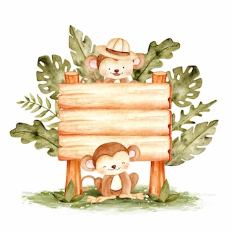 Cute monkey with wood sign template watercolor illustration