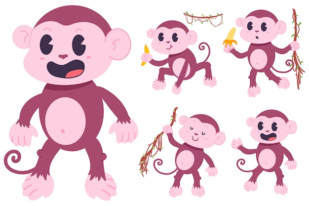 Cute monkeys cartoon characters set